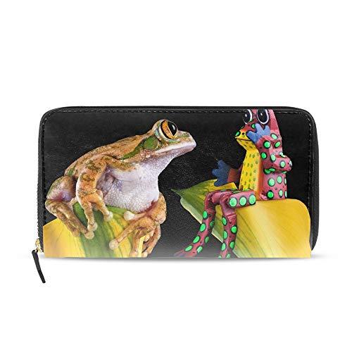 Mens Large Capacity Long Wallet Card Holder Red Frog Couple Clutch Handbag