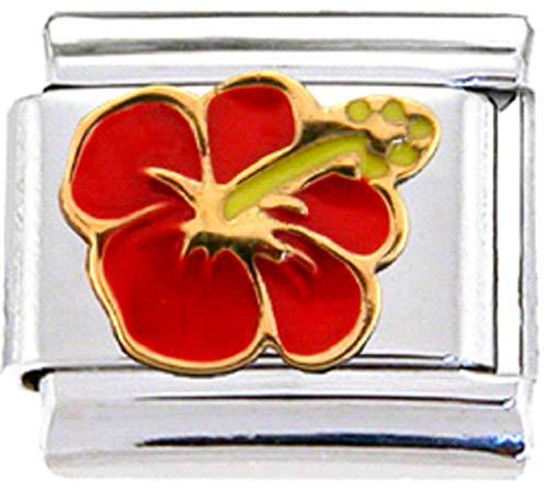 Stylysh Charms Hibiscus Plumeria Flower Enamel Italian 9mm Link GA002 - Flower 9mm Italian Charm