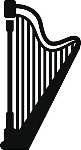 simple-clipart-musical-instrument-silhouette-cartoon-vinyl-decal-sticker-12-tall-large-harp