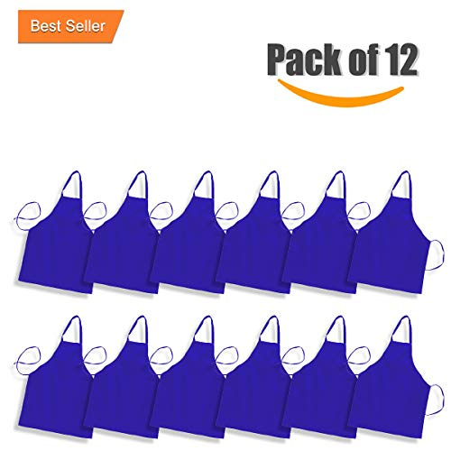 b Aprons for Women & Men in Black, White and other Colors Commercial Kitchen Chef Cooking Apron Durable 100% Spun Polyester (Royal Blue, 12) ()