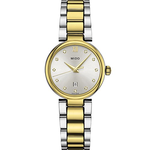 Mido Women's Baroncelli II Diamond 29mm Two Tone Steel Bracelet Steel Case Quartz Watch M022.210.22.036.09