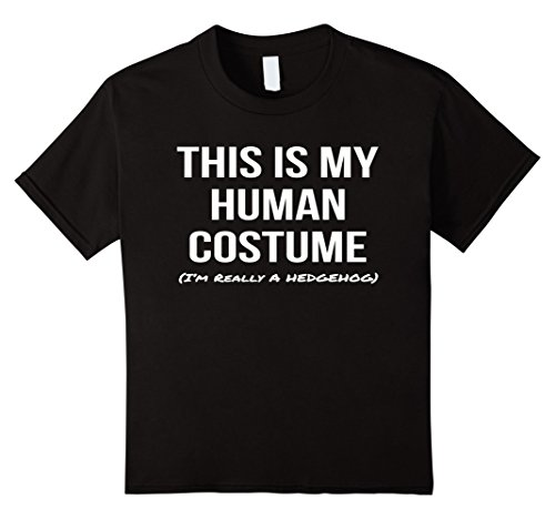 [Kids This Is My Human Costume I'm Really a Hedgehog Cosplay Shirt 8 Black] (Hedgehog Costumes For Kids)