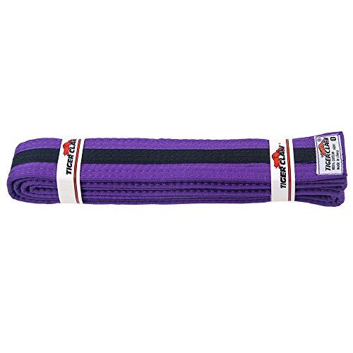 (Tiger Claw Uniform Belt - Purple With Black Stripe #2)