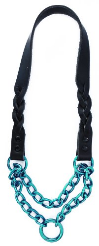 Platinum Pets Braided Genuine Black Leather Martingale Pet Collar, 21-Inch, Caribbean Teal