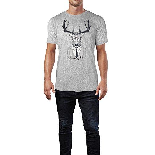 SINUS ART ® Schickes Hipster Rentier mit Brille Herren T-Shirts in hellgrau Fun Shirt mit tollen Aufdruck