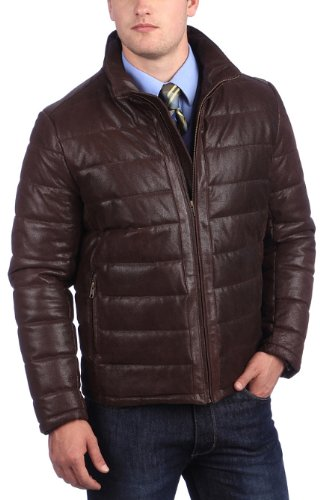 United Face Mens Coated Leather Parka Puffer X-Large Brown (United Face Down Jacket compare prices)