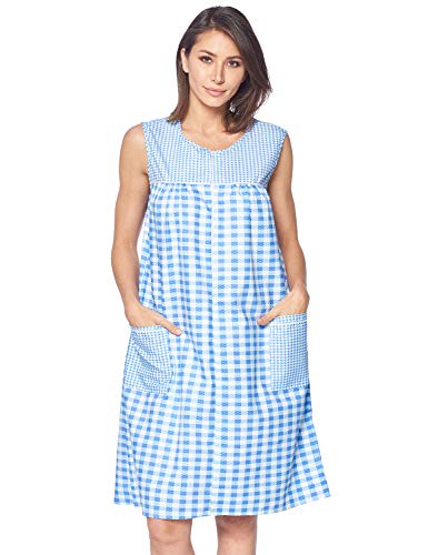 Casual Nights Women's Zipper Front House Dress Duster Sleeveless Housecoat Lounger Robe, Gingham Blue, 4X-Large