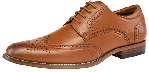 (VOSTEY Men's Oxford Classic Wingtip Brogue Formal Dress Shoes (8,Brown))
