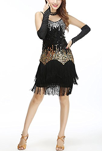 Fancy Dress Size 20 (Sparkle Fringe Sequin 20s 20s Style Fancy Ball Cocktail Dresses Costumes Black, Black, One Size)