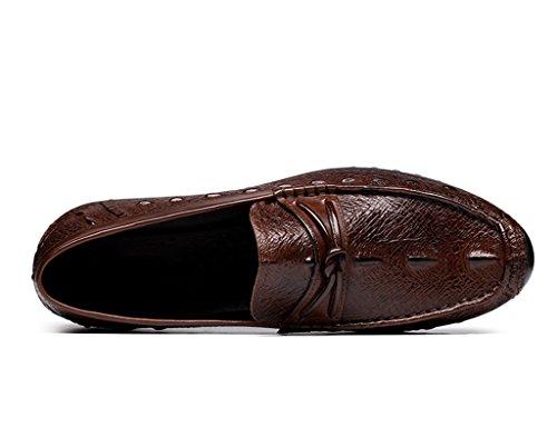 Herren Lederschuhe Herren Lederschuhe faule Schuhe britischen Stil atmungsaktiv Freizeit Herrenschuhe ( Farbe : Schwarz , größe : EU39/UK6 ) Braun