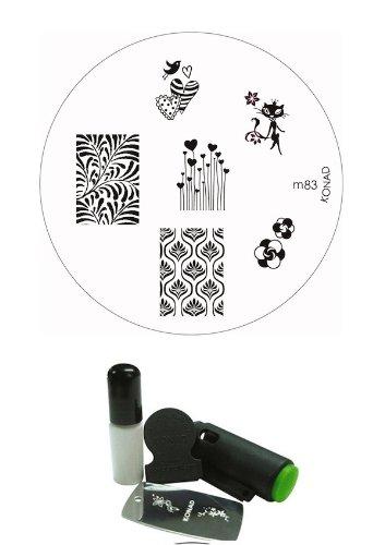 Bundle - 3 Items: Konad Nail Art Mini Promo Set Plate M83 Chic Kitty + Magic Nail Buffer