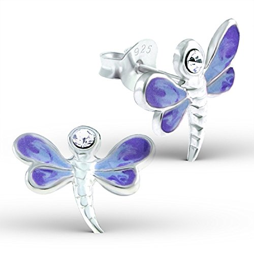 925 Sterling Silver Light Purple Dragonfly Stud Earrings (Dragonfly Stud Earrings)