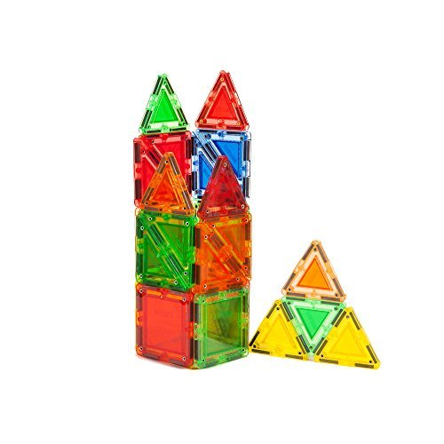 MagWorld Toys 24-Piece Builder Magnetic Tile Building Set, Clear Colors Size: 24-piece Model: MWR24