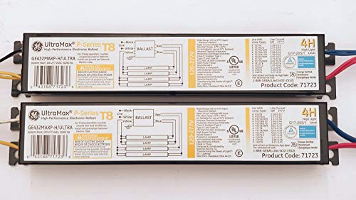 (2 Pack) GE 71723 GE432MAXP-H/ULTRA 4 Lamp Electronic Ballast F32T8 F25T8 F17T8 FE15T8 F25T12 F28T8 F36T8 F40T8-120 Volt To 277 Volt - Ultra Max H High Light Level P Series ()