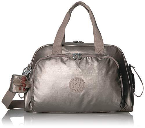 (Kipling Camama Diaper Bag, Stroller Clips, Insulated Bottle Holder, Zip Closure, metallic pewter)
