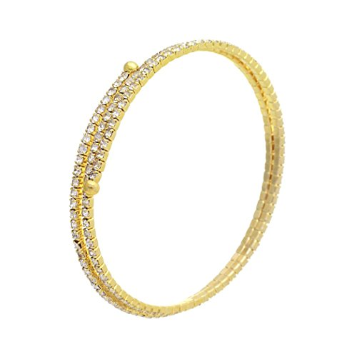 - Rosemarie Collections Women's Double Row Rhinestone Coil Bangle Bracelet (Gold Color)