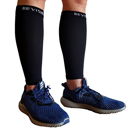 BeVisible Sports Calf Compression Sleeve – Shin Splint Leg Compression Socks for Men & Women – Our Best Calf Sleeves for Running Cycling Air Travel Support Circulation & Recovery – 1 Pair – DiZiSports Store