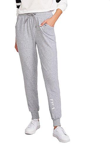 SweatyRocks Women's Casual Solid Sweatpants Yoga Workout Ath