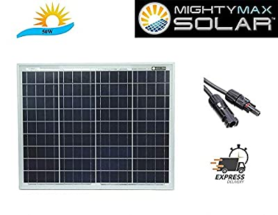 Mighty Max Battery 50 Watt 12 Volt Waterproof Polycrystalline Solar Panel Charger Brand Product