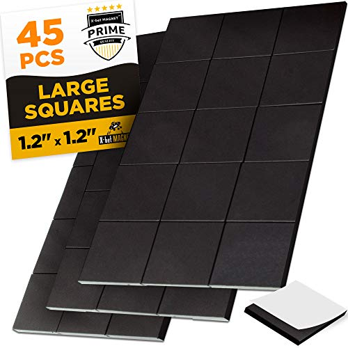 Large Magnetic Squares - 45 Self Adhesive Magnetic Squares (Each 1.2
