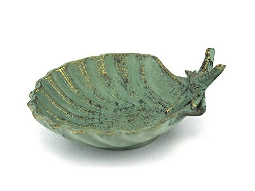 Handcrafted Decor K-019-bronze Antique Bronze Cast Iron Shell with Starfish Decorative Bowl, 6 in.