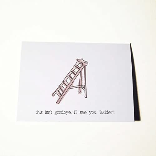 amazon com good luck and or goodbye card see you ladder handmade