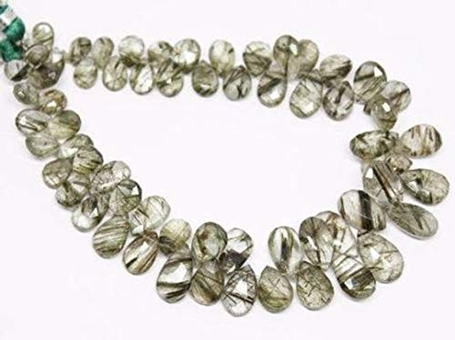 Beads Bazar Natural Beautiful jewellery Natural Rutile Quartz Faceted Pear Drop Gemstone Craft Loose Beads Strand 4