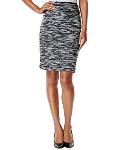 Calvin Klein Faux-Leather Trim Tweed Pencil Skirt Size ()