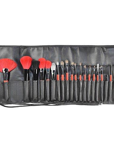 21 pcs rojo y negro gama alta Weasel de cabra pelo maquillaje cepillo conjunto con funda