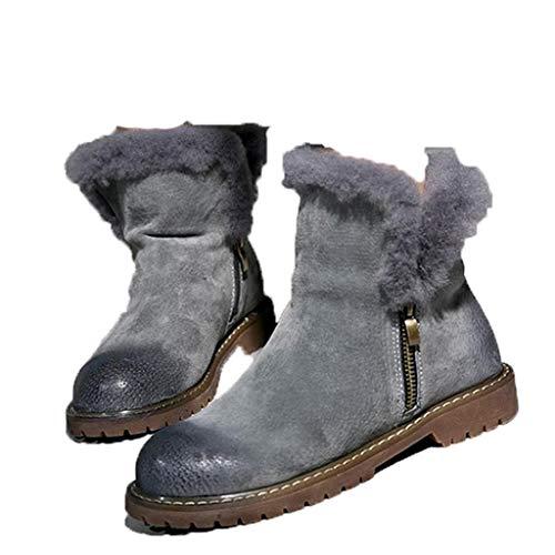 Fay Waters Women's Warm Retro Genuine Leather Plush Fur Trek Winter Flat Zipper Ankle Martin Snow Boots