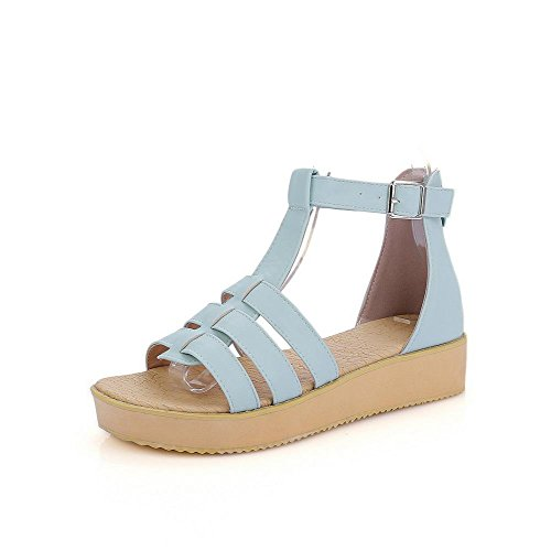 AllhqFashion Women's Low-heels Soft Material Solid Zipper Open Toe Sandals Blue