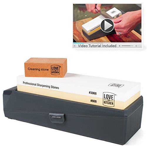 Premium Home Knife Sharpener Stone Kit, Grits 800/3000 | For All Kitchen & Outdoor Knives | Larger 8.25