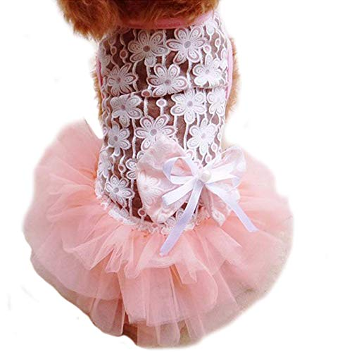 WORDERFUL Dog Wedding Dress Summer Dog Lace Wedding Dress Pet Cute Bubble Skirt Formal Dress for Puppy Small Dogs (S, Pink)