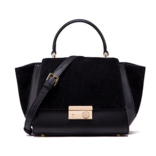 Ladies Black Leather Handbags Designer Purses with Adjustable Shoulder Strap ()