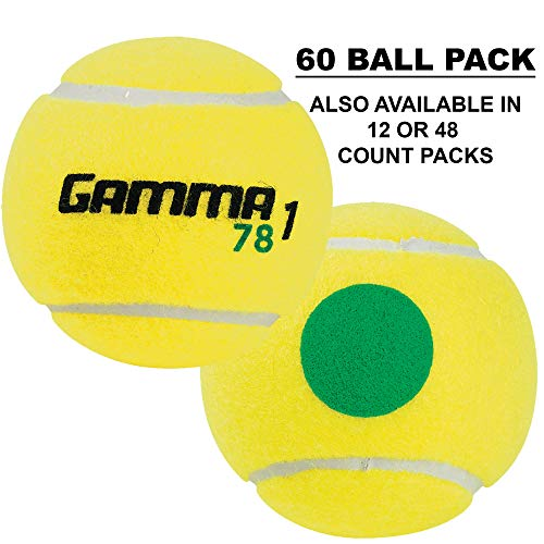 Gamma Sports Kids Training (Transition) Balls, Yellow/Green Dot, 78 Green Dot, 60-Pack