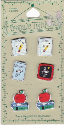 Trena's Trinkets Adorable Detail 6 Porcelain Buttons School Theme Back to (Adorable Vintage Porcelain)
