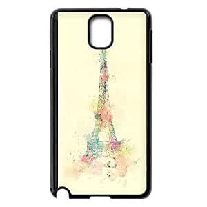 Samsung Galaxy Note 3 Cell Phone Case Black_Eiffel Tower Watercolor Paint Ryory