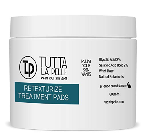 2% Glycolic Acid 2% Salicylic Acid Pads Acne Treatment - Mild Strength for Sensitive Skin - Witch Hazel Pads - Acne Solutions - For Facial Exfoliating and Smoother Looking Skin, 60 Face Pads (Pads Acne Solution)