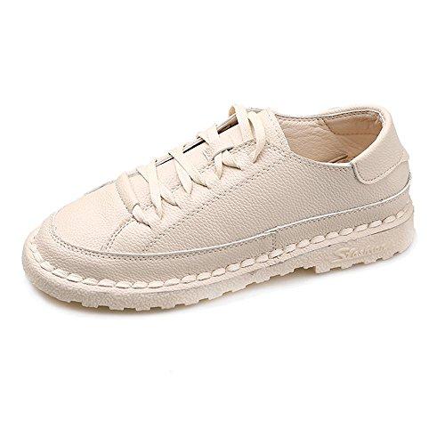 pie de mujeres zapatos fondo cuero del las ocasionales de de color del top zapato white redondo bajo con punto sólido 36 de plano Dedo del NSX cordones 8qnOY6Ew