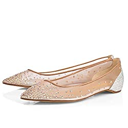 Spikes Riveted Rhinestones Mesh Sequins Ballet Flats