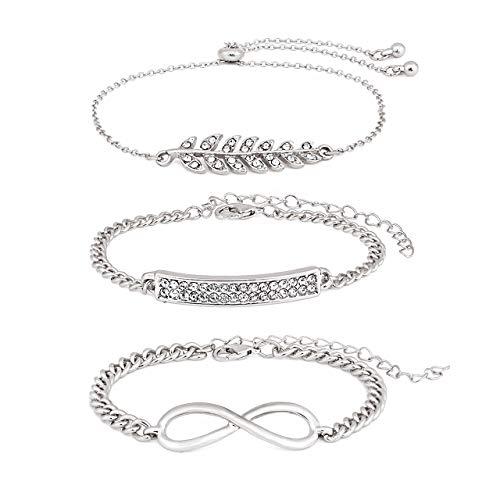 - ALEXY Women's Link Charm Bracelet Unicorn Clover Star Heart Pendant Charms Bracelet Bangles for Girls (H 3PC Silver)