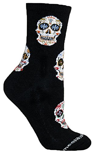 Day of the Dead Black Novelty Adult Socks by Wheel House Designs USA Made SKU PH 1431