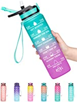 Fidus 32oz Leakproof Tritran BPA Free Water Bottle with Motivational Time Marker to Ensure You Drink Enough Water Daily...