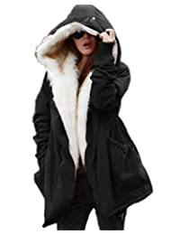 Roiii Women Military Winter Casual Outdoor Coat Hoodie Jacket Long Trench Parkas