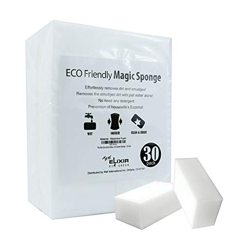 Clean Green Eco (The Elixir Eco Green Extra Thick Magic Cleaning Eraser Sponge Melamin Form Cleaner Sponge - 30 Pack)