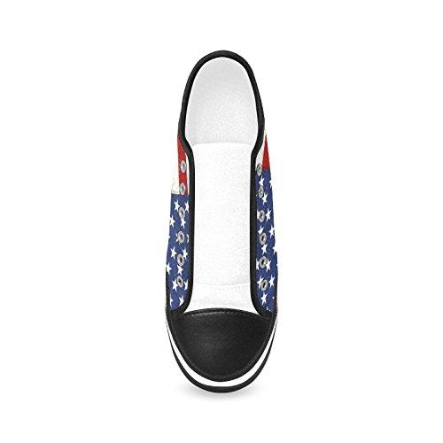 D-histoire Personnalisé Vintage Drapeau Américain Femmes Antidérapantes Toile Chaussures De Mode Sneaker