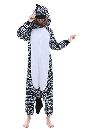 2 Man Zebra Costume - Halloween Lounge Homewear Pyjamas Adult Unisex zebra Cosplay Costume (M, Zebra)