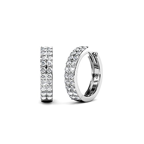 (Cate & Chloe Alice Graceful 18k White Gold Plated Hoop Earrings w/Swarovski Crystals, Beautiful Classic Round Cut Diamond Crystal Cluster Silver Fashion Hoops Earring Set -)