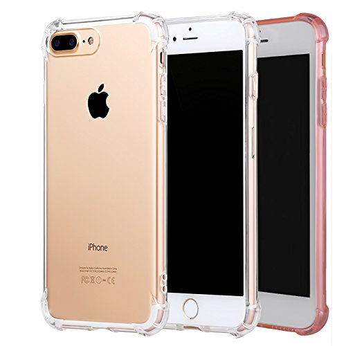 [2Pack]iPhone 7 Plus Case, iPhone 8 Plus Case, iEugen Ultra Slim Crystal Clear Case with Air Cushion and Double Soft TPU Bumper - Shockproof and Anti-Scratch Cover (clear+rosegold) ()