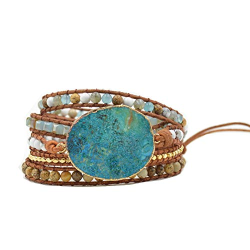 (New Gold Plated Beaded Natural Stone Leather 5 Wrap Bracelets for Women Girls Turqoise Ocean Jasper Fashion Jewelry)